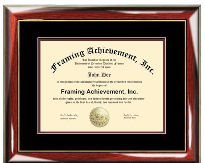 Certificate Frame University Diploma Frames High School Degree Graduation Glossy Prestige Mahogany Gold Top matted Black Inner mat Maroon