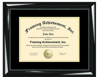 Certificate Frames Graduation Certificate Frames Glossy Majestic Black Top matted Black Inner mat Gold Degree Document Degree Plaque