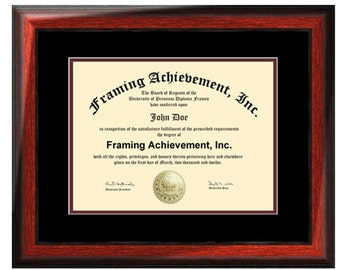 Certificate Frames College Degree Graduation Diploma Frame Satin Rich Mahogany Top mat Black Inner matted Maroon Document Plaque