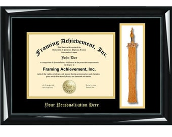 Tassel College Frames University Diploma Frame Top mat Black Inner mat Gold Personalized Gold Embossed Glossy Black Frame Graduation Gifts
