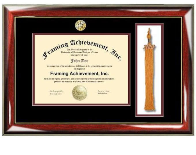 University Tassel Diploma Frames - Graduation Tassel Box Frames College Major Seal Logos - Top mat Black Inner Maroon Glossy Prestige