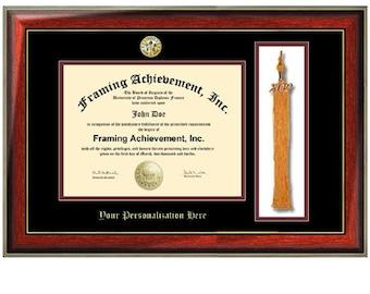 Tassel Diploma Frame College Major Logo Seal Frame Top matted Black Inner Maroon Satin Mahogany Gold Accents Embossed Framing Certificate