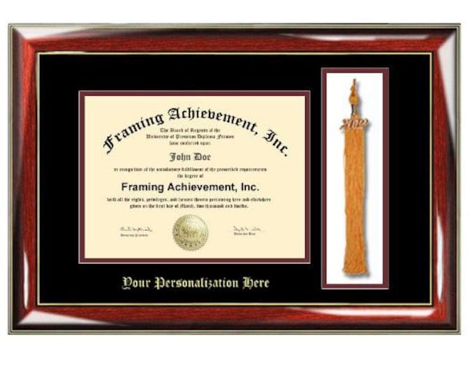 University Diploma Frame with Tassel Box College Graduation Gift Graduate Top mat Black Inner mat Maroon Glossy Prestige Embossed Frame