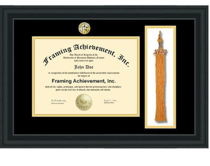 Graduation Tassel Frames - University Diploma Frames College Major Seal Logo Top mat Black Inner Gold Satin Matte Black Degree College Frame