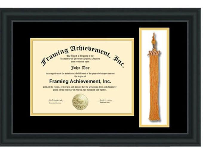 College Graduation Tassel Frames - University Degree Tassel Box Frame Top mat Black Inner Gold Satin Matte Black Certificate Frame