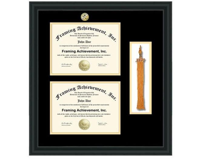 Double diploma frame graduation tassel holder box with college major logo seal medallion degree college school certificate university