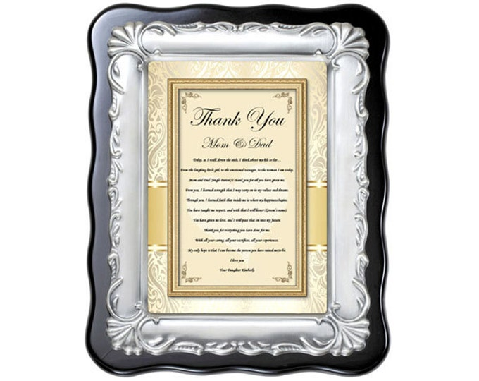 Wedding thank you gift for parents from bride. Appreciation mom and dad wedding engagement present from daughter inlaw father of bride gift