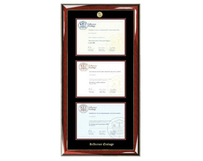 Influence Ecology Triple Certificate Frame with Gold Medallion Logo Premium Wood Moulding for Influence Ecology Professional Students