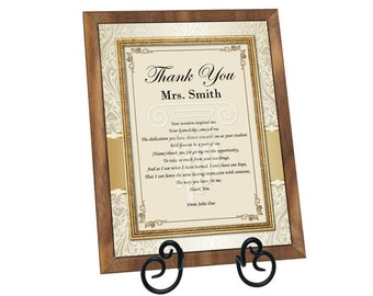 Teacher Thank You Gift Present Walnut Plaque Mentor Educator Professor Appreciation Poem with Easel from Student