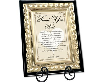 Unique Father Gifts Birthday Wedding Day Present Poetry Personalized Appreciation Poem Love Thank You Gold Plaque Dad