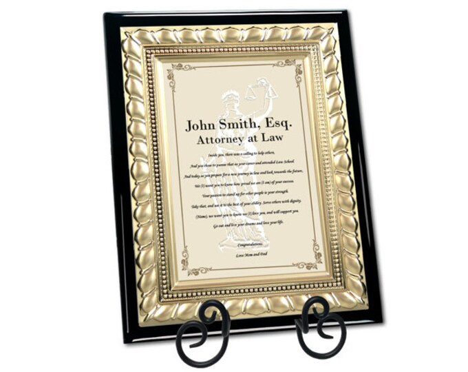 Law School Gifts for Attorney Lawyer Graduation Congratulation Poetry Plaque Passing Bar Present