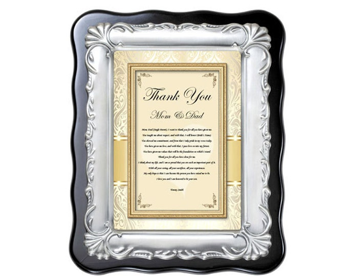 Thank You Parents Wedding Gift Plaque from Groom Son or Daughter Bride Mom and Dad Appreciation Present Vows Engagement
