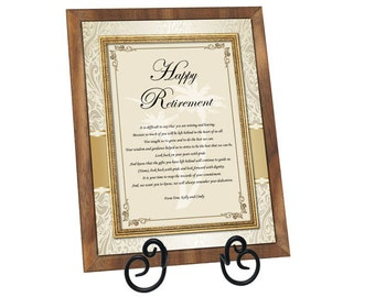 Happy Retirement Wishes for Coworker, Colleague, Boss, Friend Farewell Retiring Sayings Poem Retiring Walnut Plaque