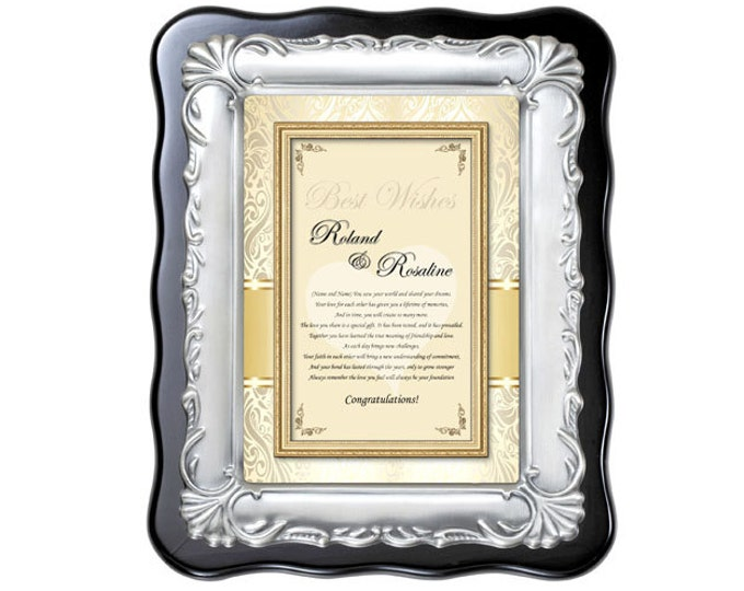 Personalized Congratulation Anniversary or Wedding Engagement Gift Plaque Poem For Bride Daughter and Groom Son Present