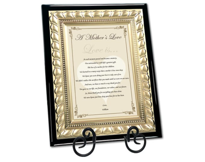 Unique Mom Gifts Birthday Wedding Mother's Day Present Poetry Personalized Appreciation Poem Love Thank You Gold Plaque