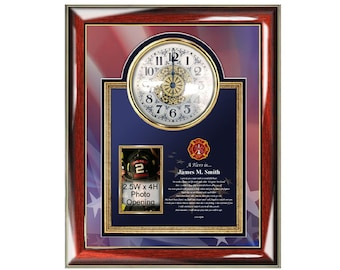 Firefighter Gift Poetry Clock Frame from Wife Girlfriend Fireman Poem Picture Frame Birthday Present Retirement Valentine's