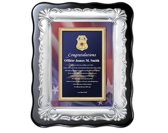 Law Enforcement Police Academy Graduation Gift Sheriff School Graduate Present Plaque Officer Deputy Birthday Valentines Fathers Day