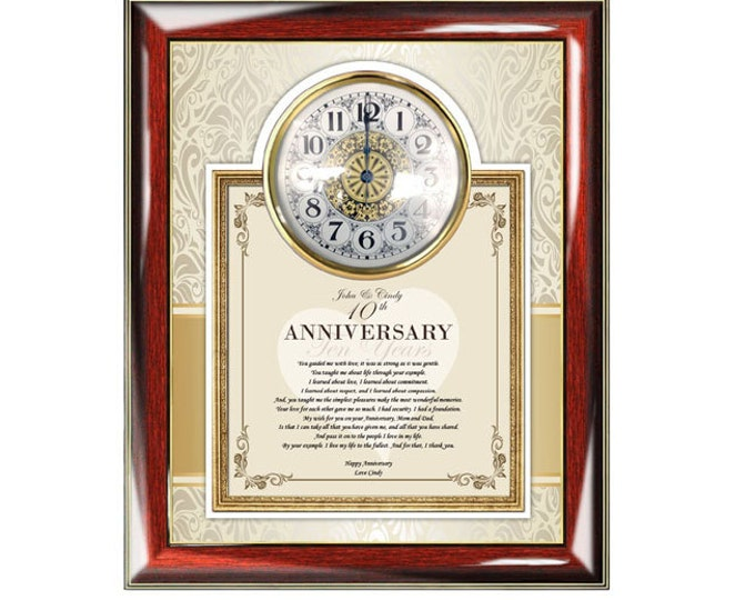 Poetry Wedding Anniversary Parents Gift Clock Frame Mother Father Congratulation Present Love Poem Romantic