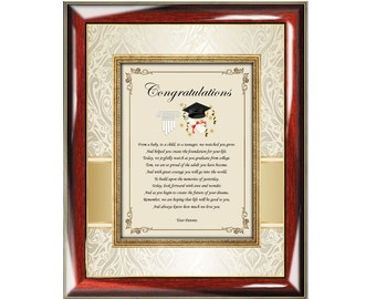 Personalized Congratulations Graduation Poetry Gift Wall Frame Plaque Present From Parents Or Mom Dad To Graduate