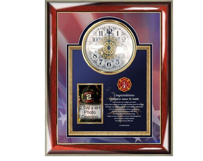 Firefighter Academy Graduation Poetry Clock Frame Personalized Fire School Present Fireman Poem Congratulations Graduate Item FIR-PGC4