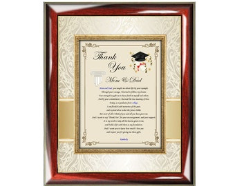 Graduation Thank You Parents Poetry Wall Frame Friends Family Education School Support Present Parents
