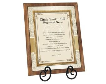 Registered Nurse RN LVN BSN Gift Poem Personalized Walnut Plaque Nursing School Graduation Poetry Nurse Practitioner