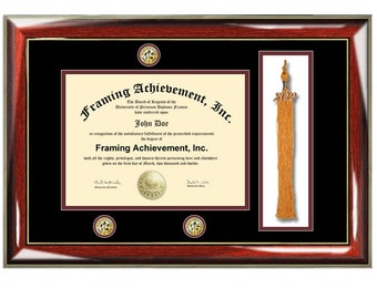 Graduation tassel diploma frame university college degree triple medallion seal logo graduation plaque certificate framing plaque