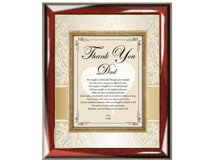 Thank You Father Poetry Gift Plaque Personalized Father's Day Birthday Wedding Thank You Dad Present Poem Bride Daughter