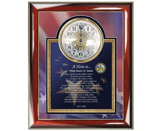 Clock Army Plaque Frame Personalized Military Gifts Poem Retirement Plaque Picture Frame Discharge Veteran