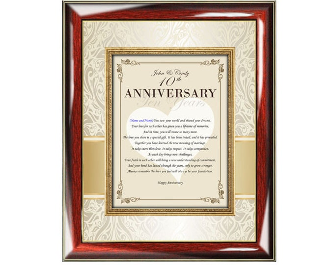 Anniversary Poetry Love Gift Frame Personalized Congratulation Wedding Anniversary Poem Friend