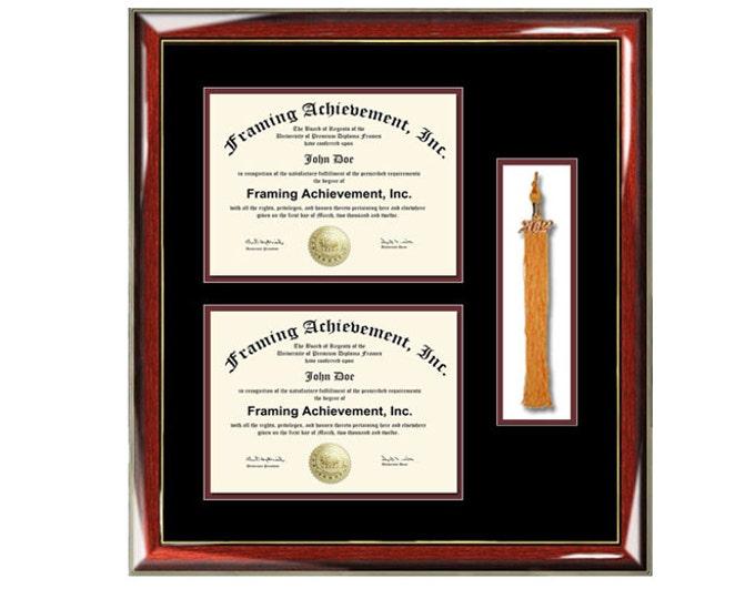 Graduation tassel diploma frame with two degree high school college certificate university document framing tassel holder plaque shadowbox