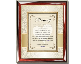 Personalized Poetry Friendship Gift Frame Best Friends Poem Plaque Birthday Present
