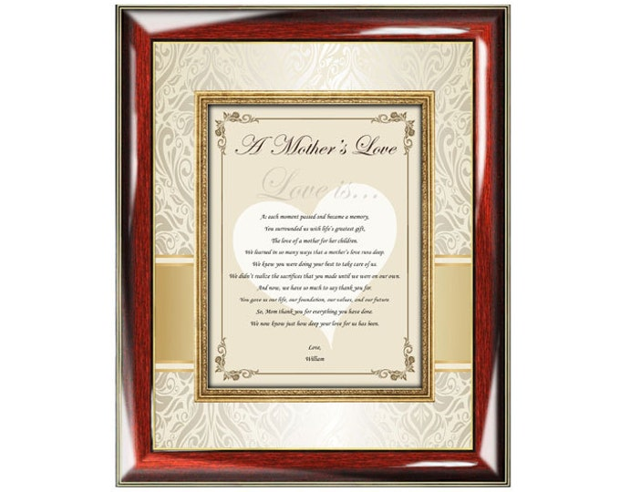 Thank You Poetry Mother Frame Plaque Personalized Gifts for Mom Love Birthday Son Daughter