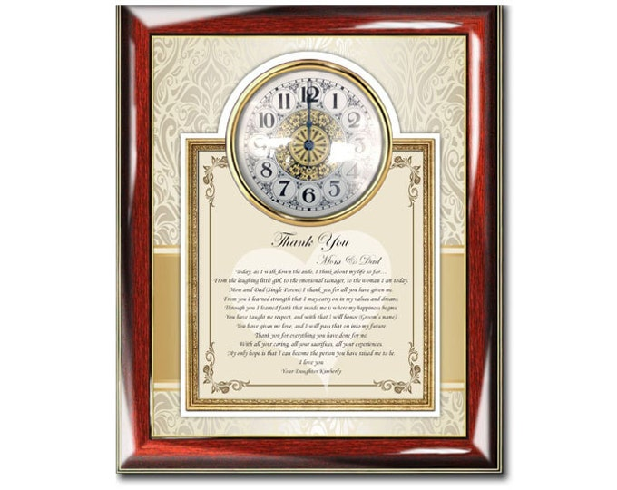 Parents Thank You Wedding Poetry Clock Bride Groom Present to Mother Father Wedding Day