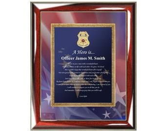 Law Enforcement Retirement Gift Wall Picture Frame Personalized Photo Plaque Recognition Policeman Promotion