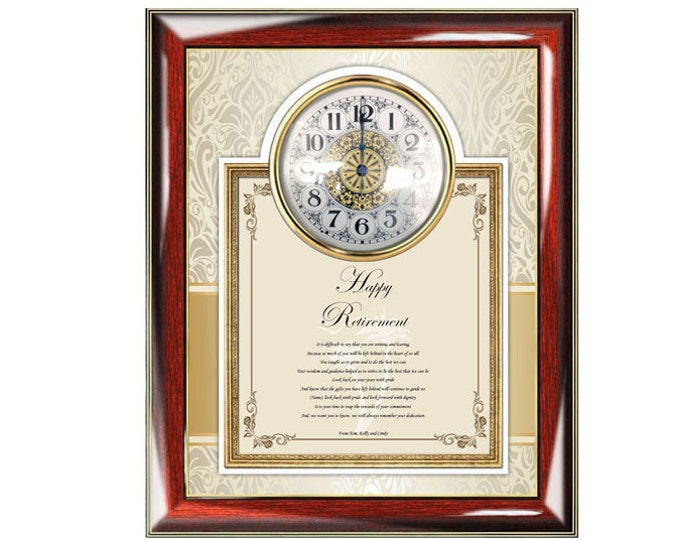 Retirement Gift Clock Frame Personalized Best Wishes Retirement Clock Retiree Coworker Employee Friend Boss Poetry Colleague