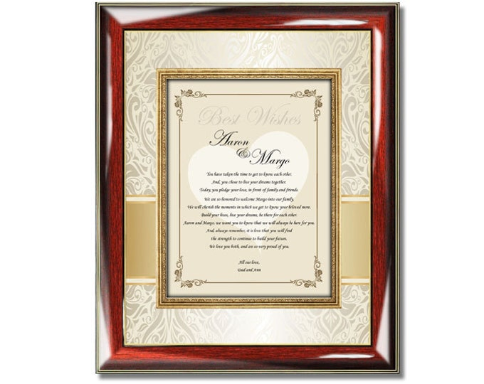 Wedding Poetry Gift to Bride or Groom from Parents Personalized Present Plaque to Daughter Son Wedding Poem from Mom Dad