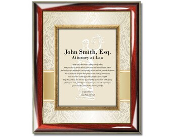 Law Graduation Gift Poetry Picture Frame New Lawyer Attorney Law School Present Congratulation Juris Doctor Poem