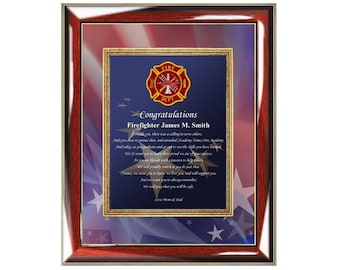 Personalized Firefighter Academy Graduation Poetry Frame Congratulation Fire School Graduate Gift Present Fireman Fathers Day