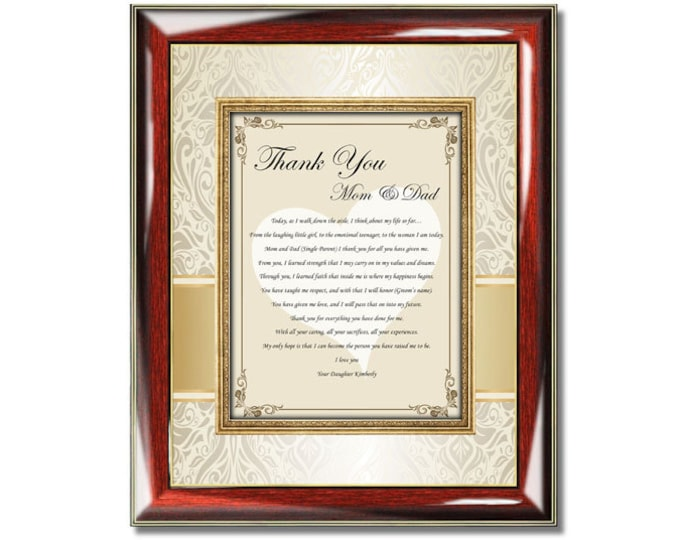Thank You Parents Poetry Plaque From Daughter Personalized Bride Daughter Son Groom Gifts For Mother Father Wedding Day