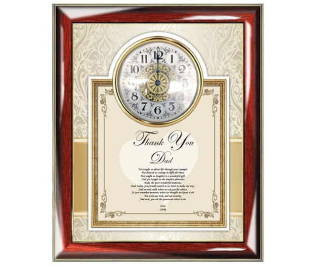 Clock Poetry Frame Thank You Gift to Dad Personalized Presents for Father Father's Day Poem Birthday