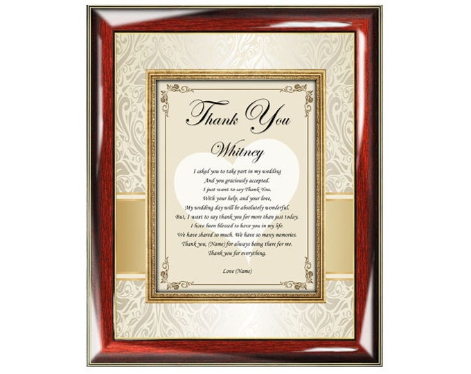 Bridesmaid Poetry Gift Frame Personalized Maid of Honor Thank You Poem Plaque Picture Frame From Bride Wedding