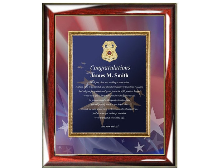 Law Enforcement Gift Wall Frame Personalized Poetry Police Academy Sheriff School Policeman Graduation Present For Son Daughter Friend