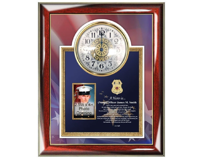 Law Enforcement Gift Police Officer Policeman Retirement Promotion Poetry Clock Frame Sheriff Picture Photo Plaque