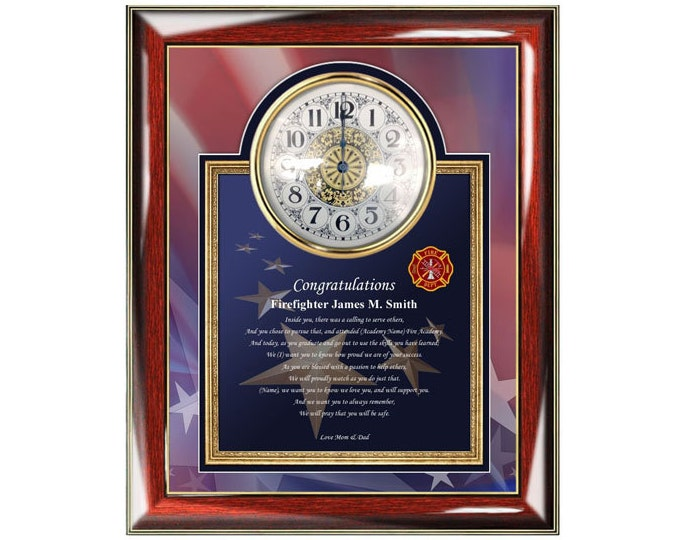 Fire Academy Graduation Poetry Clock Frame Personalized Fire School Graduate Present Fireman Congratulation Personalize Poem