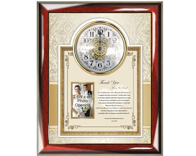 Mom Dad Thank You Wedding Gift Poetry Clock Frame Personalized Wedding Photo Frame Son Groom Gift Inlaws To Parents