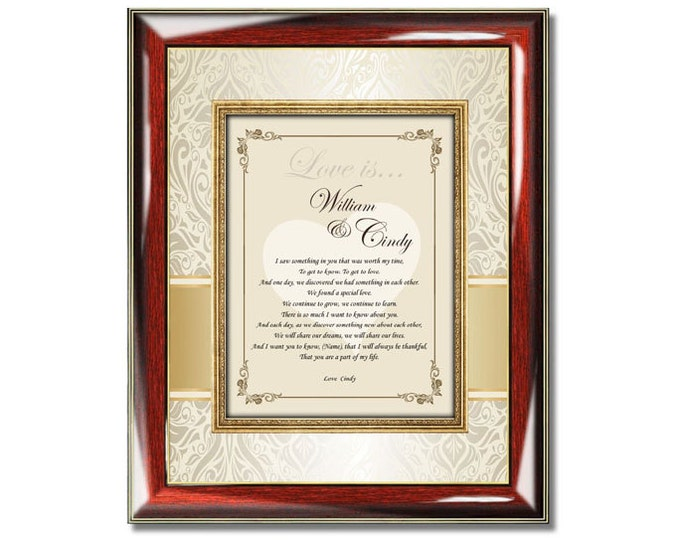 Personalized Love Romantic Gift Frame Birthday I Love You Present Girlfriend Boyfriend Wife Husband Engagement Poem Romantic