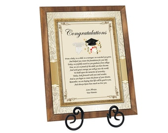 Graduation Gift Plaque Present for University or High School College Graduates Personalized Graduation Poem