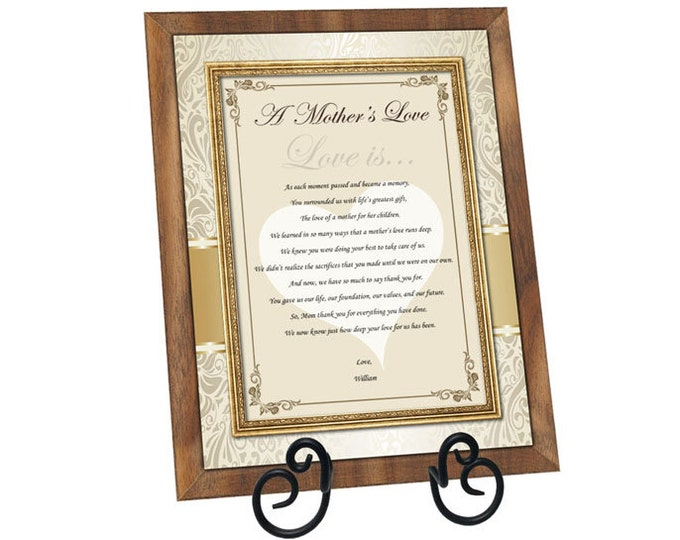 Poetry Gift for Mother Personalized Mom Appreciation Poem Present Walnut Plaque Birthday Love Thank You Present