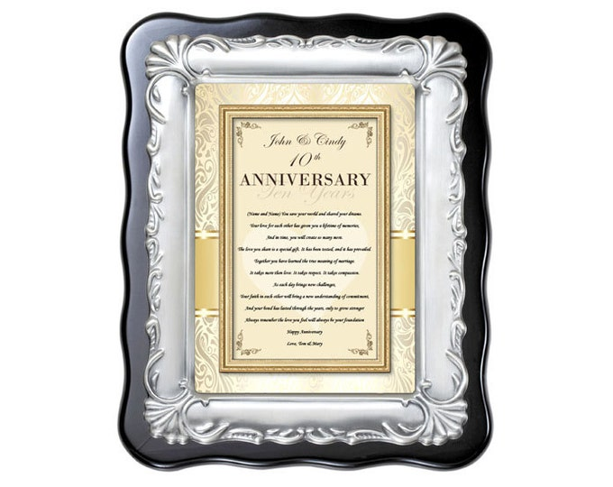 Personalized Anniversary Gift Present for Him or Her. Happy Anniversary Poem Congratulations Poetry Wedding Frame Poem